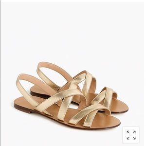 NWOT - JCrew Cross-strap sandals metallic gold